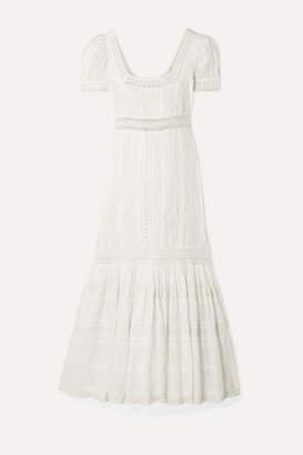LoveShackFancy Ryan Crochet-trimmed Embroidered Cotton-gauze Maxi Dress - Ivory