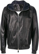 Bally hooded reversible bomber jacket