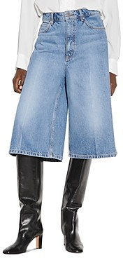 Sandro Vina Cropped Wide Leg Jeans in Blue Jeans