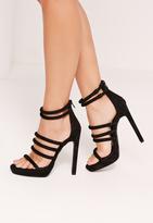 Missguided Rounded Strap Platform Heeled Sandals Black