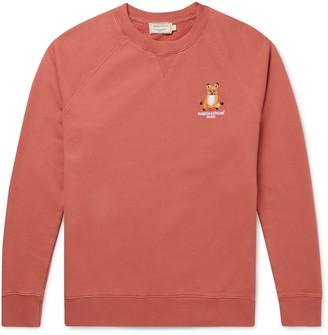 MAISON KITSUNÉ Slim-Fit Logo-Embroidered Melange Loopback Cotton-Jersey Sweatshirt - Men - Pink