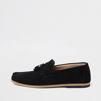 River Island Black suede contrast heel tassel loafers