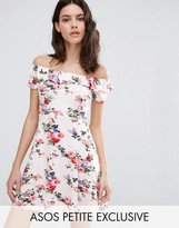 Asos Skater Dress with Ruffle Off Shoulder in Floral Print