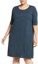 Eileen Fisher Plus Size Women's Crewneck Merino Jersey Sweater Dress