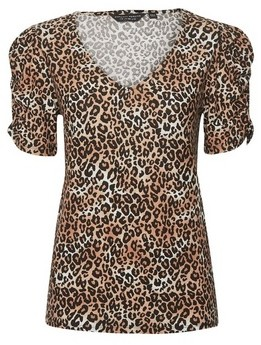 Dorothy Perkins Womens Brown Leopard Print Ruched Sleeve V