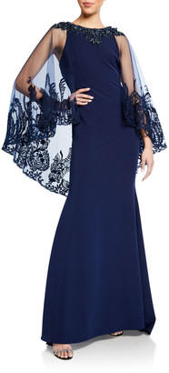 Badgley Mischka Couture Lace Cape-Sleeve Column Gown