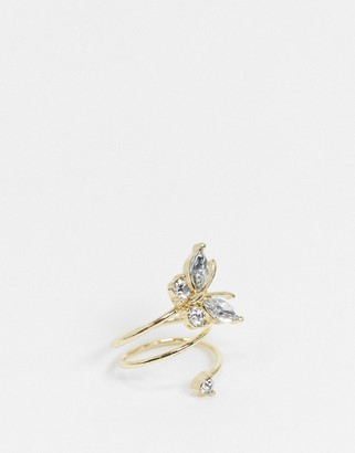 ASOS DESIGN pinky ring in wrap around crystal butterfly in gold tone