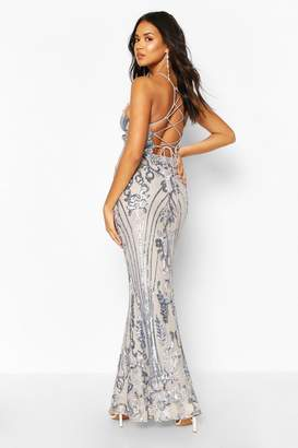 boohoo Occasion Sequin Lace Up Back Maxi Dress