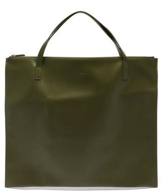 Jil Sander Logo-debossed Leather Tote Bag - Khaki
