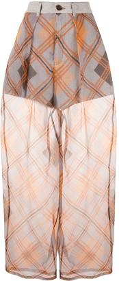 Emporio Armani oversized check sheer trousers