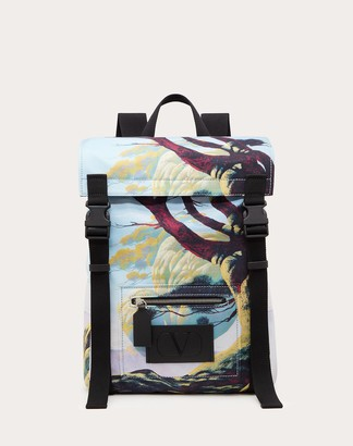 Valentino Garavani Uomo Floating Island Nylon Backpack Man Silver Polyester 41%, Polyurethane 16%, Acrylic 2% OneSize