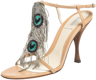 Fendi Beige Leather Metal Peacock Feather T Strap Sandals Size 38