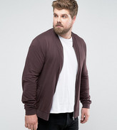 Asos Plus Lightweight Muscle Jersey Bomber Jacket In Brown