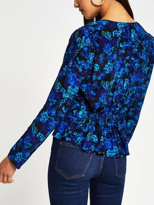 River Island Floral Wrap Blouse - Blue