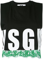 MSGM logo print cropped top - women - Cotton - L
