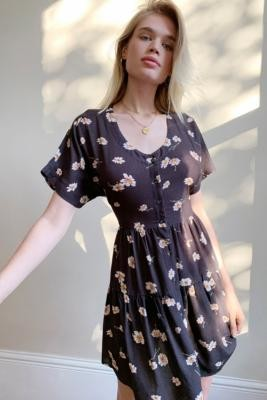 Urban Renewal Vintage Urban Outfitters Archive Ella Brown Short-Sleeve Daisy Dress - Brown XS at Urban Outfitters
