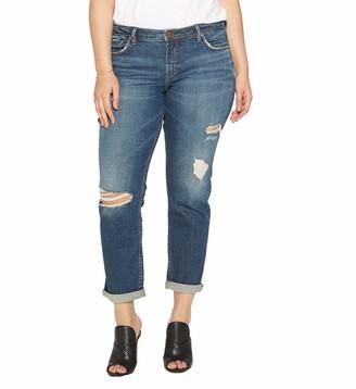 Silver Jeans Co. Women's Plus Size Sam Mid Rise Boyfriend Jeans
