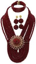 Africanbeads 8 Rows 6mm Handmade Costume African Wedding Jewelry Set,Bridal Necklace Earrings Bracelet