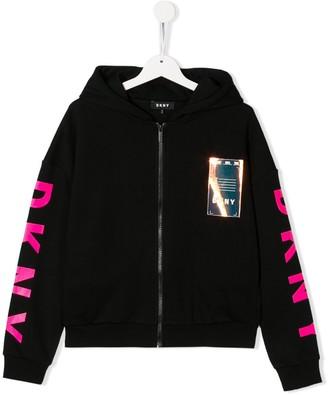 DKNY TEEN zipped logo hoodie