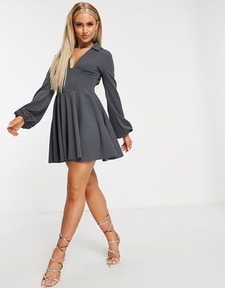 ASOS DESIGN corseted shirt mini skater dress with ruched side detail in slate