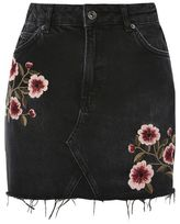 Topshop Moto blossom embroidered denim skirt