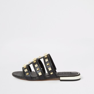 River Island Womens Black studded caged Mule sandals