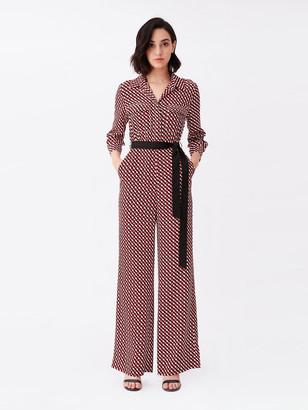 Diane von Furstenberg Sandy Silk Crepe de Chine Wide-Leg Jumpsuit