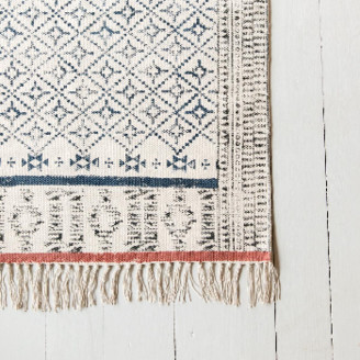 The Painted Bird - Large Navy & Rust Hand Block Printed Rug - cotton