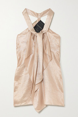 Roland Mouret Pontal Tie-detailed Metallic Silk-blend Top - Rose gold