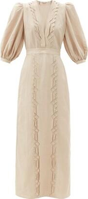 Adriana Degreas Puff-sleeve Pintucked Poplin Dress - Beige