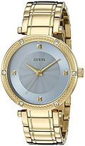 GUESS Women's U0695L2 Dressy Gold-Tone Watch with Diamond Accent and Sky Blue Dial