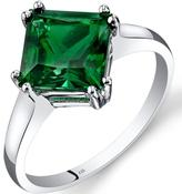 Ice 2 CT TW Lab-Created Emerald 14K White Gold Solitaire Princess Cut Fashion Ring