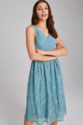 Little Mistress Ffion Fern Embroidered Midi Dress