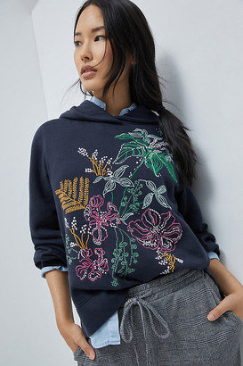 Maeve Zooey Embroidered Hoodie By in Black Size XS