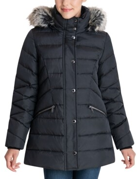 London Fog Faux-Fur Trim Hooded Down Puffer Coat