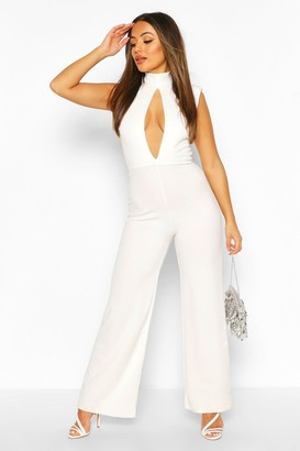 boohoo Petite Power Shoulder Cut Out Jumpsuit