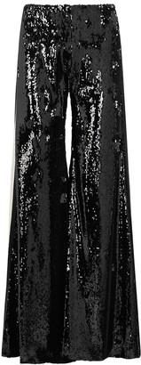 Serena Bute Black Striped Wide-leg Sequin Trousers