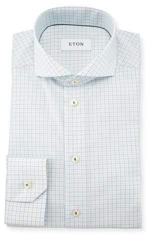 Eton Slim Fit Tattersall Dress Shirt, Green
