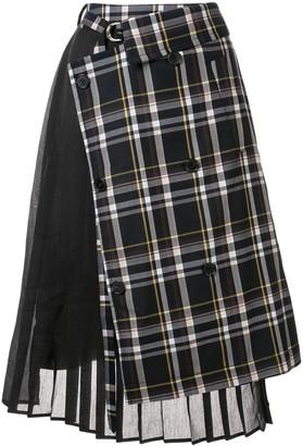 J Koo check pleated skirt