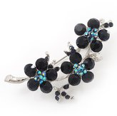 Avalaya Swarovski Crystal Floral Brooch (Silver&Dark ) - 5.5cm Length