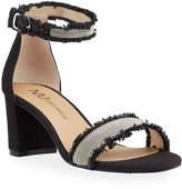 Neiman Marcus Malisy Fringe Mid-Heel Sandals