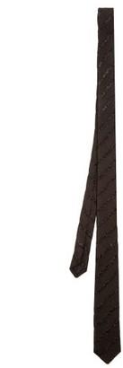 Saint Laurent Glitter-stripe Silk-faille Tie - Black