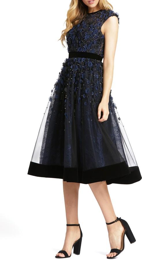 Mac Duggal Floral Applique Cocktail Dress