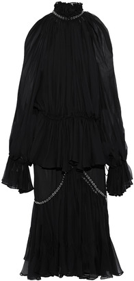 Jonathan Simkhai Cold-shoulder Eyelet-embellished Pleated Silk-chiffon Midi Dress