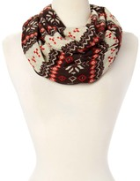 Brown Fair Isle Zip-Pouch Infinity Scarf