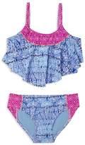 Gossip Girl Girls' Printed Flounce 2-Piece Swimsuit - Sizes 7-16