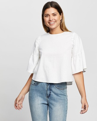 Atmos & Here Atmos&Here - Women's White Short Sleeve Tops - Julieta Linen Blend Blouse - Size 14 at The Iconic