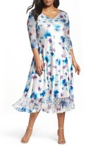 Komarov Plus Size Women's Floral Charmeuse & Chiffon A-Line Dress