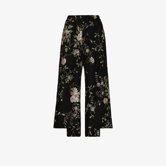 By Walid Robin floral embroidered silk trousers