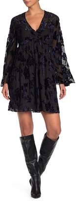 Diane von Furstenberg Adelita Velvet Design Bell Sleeve Dress